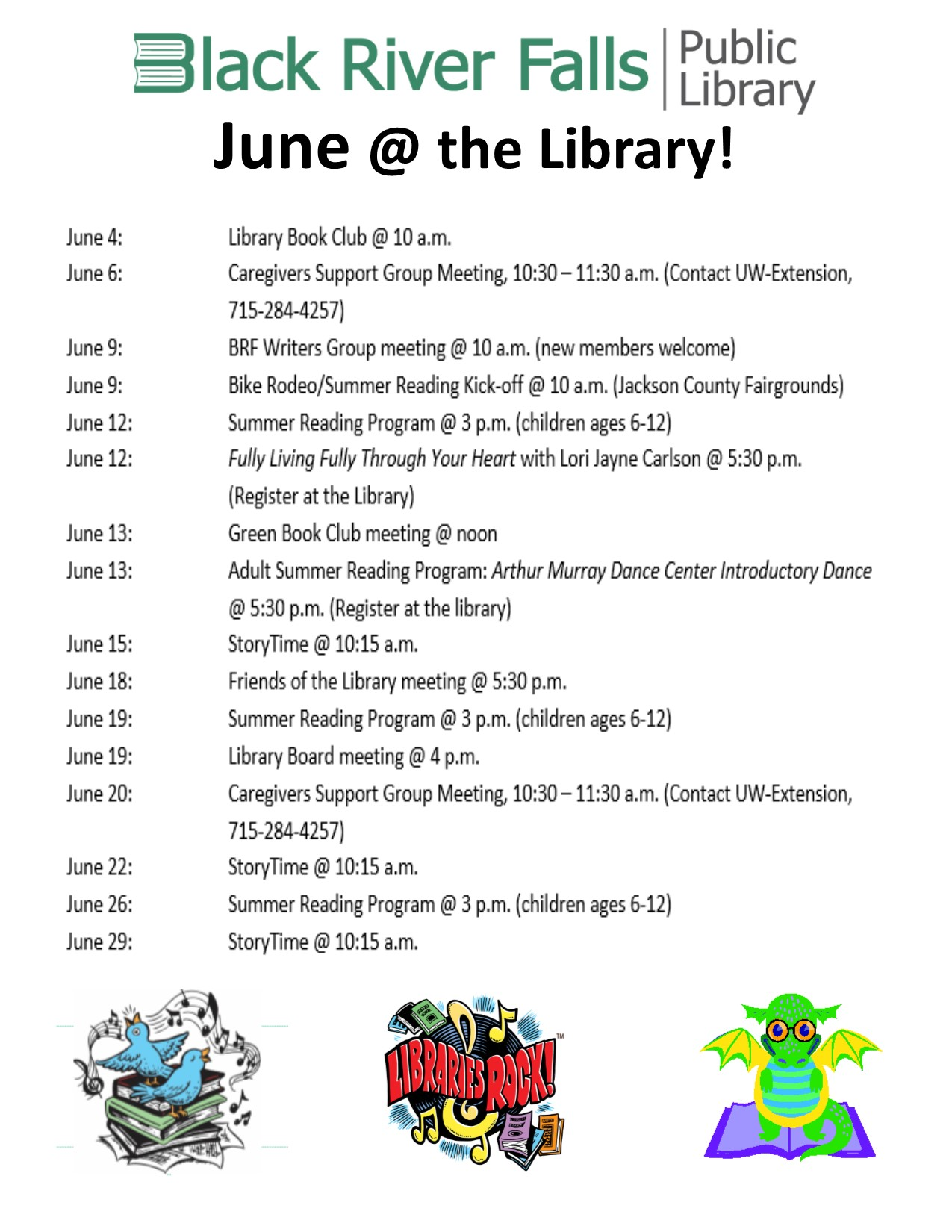 Library Calendar of Events - June 2018