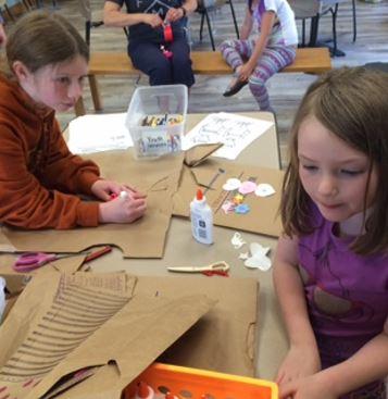 Constructing paper bag clothing!